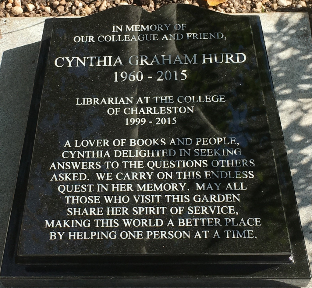 In memory of our colleague and friend, Cynthia Graham Hurd
