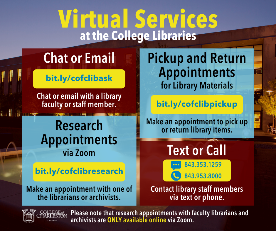 Graphic displaying information about virtual services (chat/text, email, and research appointments)